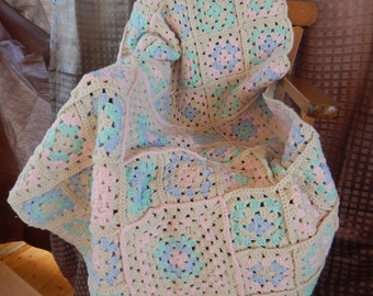 Hand Crocheted granny squares baby blanket