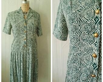 Vintage 1980's, drop waist, dress,  knife pleats, novelty print, MEDIUM