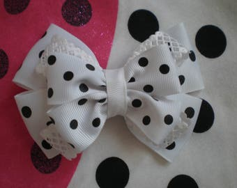 Black and white hair bows Polka dot hair bows Girl hair bow Toddler bow
