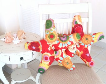 Two Starfish Pillows in Reds Yellows Oranges