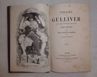 Swift GULLIVER's travels in 2 volumes JJ GRANVILLE 1838 illustration