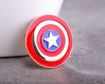 Captain America Shield Brooch Enamel Pin