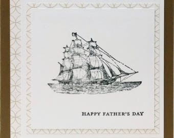 Fathers Day Card, Handmade Card, Stampin Up Fathers Day Card, Masculine Card, Card For Him, Card For Dad, Nautical Card, Ship Card
