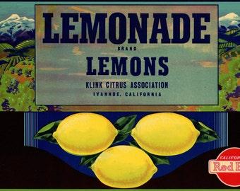 Lemonade Lemons Crate Label