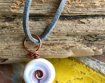 Shell and copper pendant from Cornwall. Beautiful spring and summer holiday gift