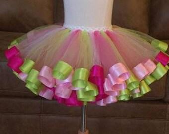 Tutu-Birthday Tutu-Pink-Strawberry Shortcake inspired-Pink and Green tutu