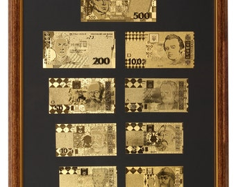 Collage with Ukrainian  banknotes 1,2,5,10,20,50,100,200, 500 Hryvnya