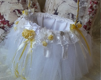 Yellow and white flower girl basket