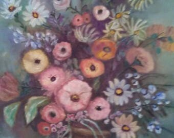 Flower Bouquet Still Life Original Oil Painting