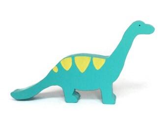 Dinosaur wooden toy - blue diplodocus - waldorf figure - eco friendly toy