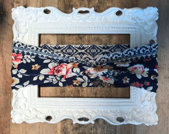 Navy Vintage Floral Adult/Toddler/Infant Handmade Twist Turban Headband