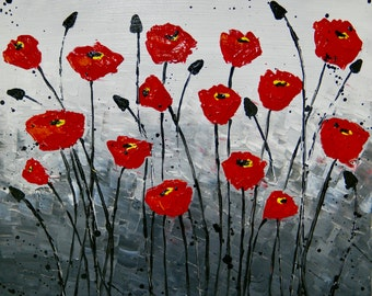 Poppy Flower Acrylic painting Canvas art Flowers, White and Black background