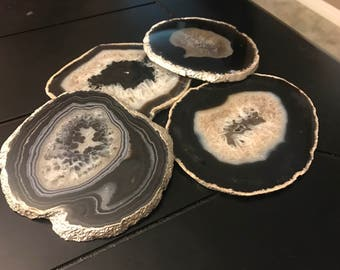 Agate Coasters with Gilding set of 4
