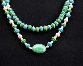 Teal and Green Beaded Necklace