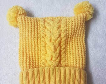 Kids Alpine HAND KNITTED Ski Hat Pom Poms Cable Knit Yellow