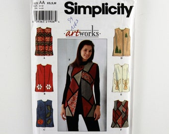 Simplicity Pattern 8228 Misses' Vest, Sizes XS, S, M, Long Vest, Loose-fitting Vest, Jewel Neck Vest, Single Button Vest, Side Slits Pattern