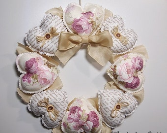 "Door wreath, wreath wall ""Romance"" with heart"