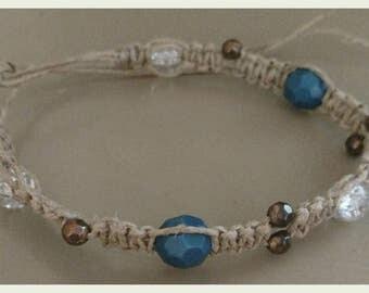 Teal and bronze beaded hemp bracelet or anklet