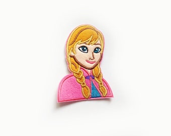 1x Anna Frozen Patch cartoon cute kids fun Iron On Embroidered Applique love Disney custom your jacket hat bag dress shoes...