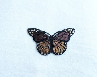 1X brown butterfly romantic fashion Iron On Embroidered Patch Applique