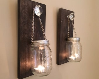 Luxurious Mason Jar Wall Sconces / Candle Sconces