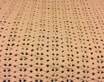Handmade Crib Size Baby Pink Blanket