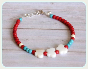 Red and white howlite turquoise gems bracelet mother of Pearl Sterling Silver butterflies Tibetan silver chic minimalist gems fine elegant gift