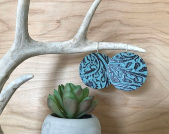 Aqua stamped leather circle earrings