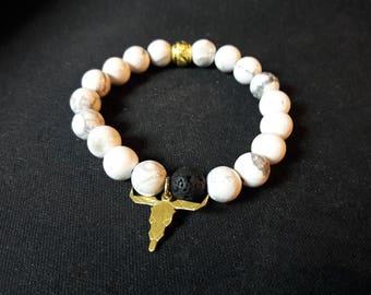 Howlite charm bracelet Buffalo