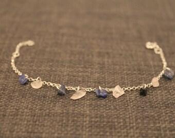 Gemstone bracelet, Sterling silver, Sodalite and Rose Quartz, silver jewelry, gemstone jewellery with silver, dainty bracelet, woman, gift