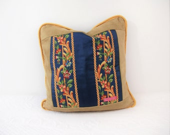 The French collection blue, lozenges and flowers, luxury pillow, pillow per room, sofa pillow