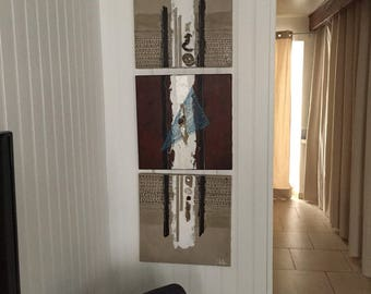 Triptych abstract painting