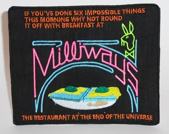 BIG Milliways UV embroidered Patch - Hitchhikers Guide to The Galaxy