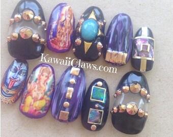 Hindu nail art etsy hindu god goddess shell rose gold swarovski gel nail art press on false fake nails prinsesfo Choice Image