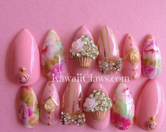 Pink & Gold Floral with Kawaii Cupcakes Gel Nail Art