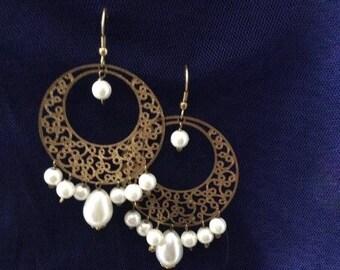 White / Gold Earrings