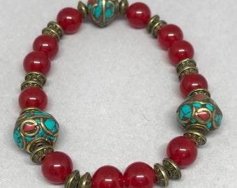 Boho bracelet, with vintage tibetan beads