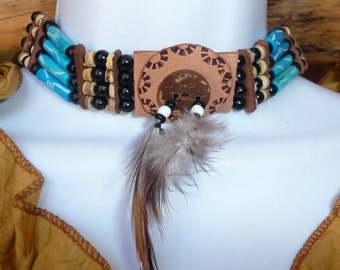 Native American Choker - neck bone, leather and feathers 3 rows round wood beads