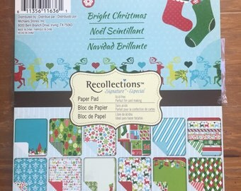 Christmas Themed Paper Pad / Holiday Paper Pad  / 6 x 6 Paper / Scrapbook Paper / Scrapbooking / Card Making Paper /Patterned Paper