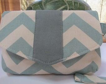 Small Pastel Blue Chevron Clutch, Wristlet, Makeup Bag, Purse (ver2)