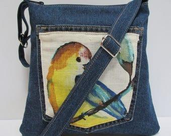 Small Thin Denim/Floral Birds Zipper Sling Bag, Crossbody, Messenger, Purse