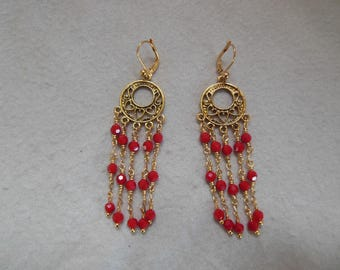 Red & Gold Color Dangle Earrings
