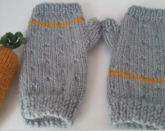Mittens fingerless hand knit for child