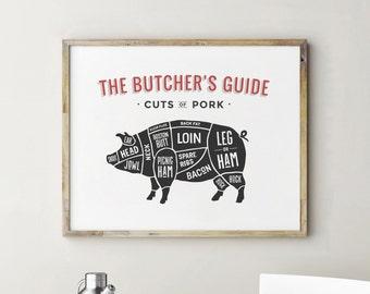 Butcher Chart, Butcher Print, Pork Cuts, Kitchen Decor, Kitchen Decor Wall, Kitchen Signs, Kitchen Wall Decor, Kitchen Art, Kitchen Wall Art