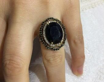 Ottoman style handmade 925 sterling silver Ring Black stone