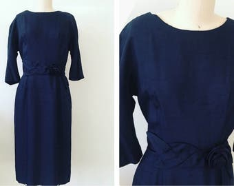 JACKIE • 1950 Vintage Navy Dress • A Topaz Original • 50s evening Crepe Dress