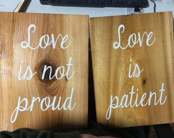 1 Corinthians 13 sign, wood wedding sign. Two signs with choice of verse (same or different verse)