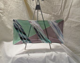 """Mint and Purple Series/Set:  Large fluted rectangle - 12"""" x 6"""""""