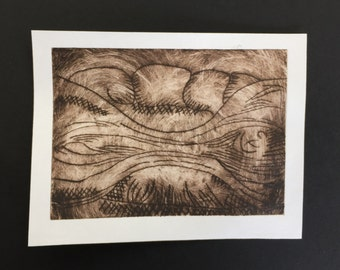 Handmade drypoint print of organic form