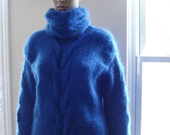 Blue Hand Cable Knitted Mohair Sweater with removable collar Pullover M L XL